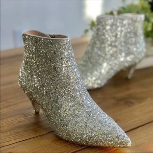 Kate Spade Olly Silver Glitter Ankle Booties. 71/2